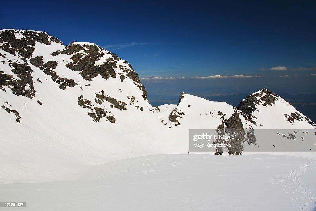 Snowy mountain range in Bulgaria