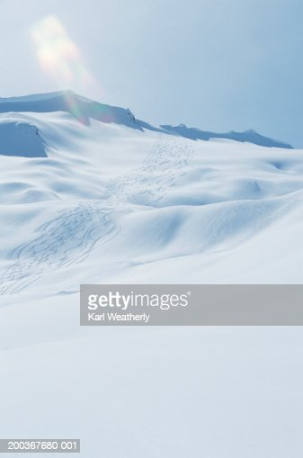 Snowy mountain, snowboarding tracks : Stock Photo