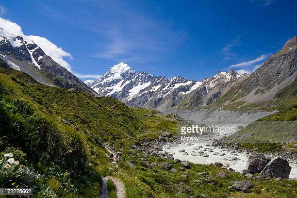 Snowy mountain top and river of Mt. Cook