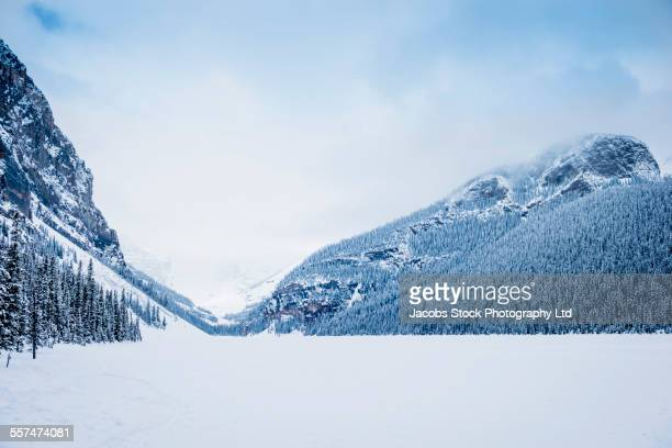 Snowy mountains in remote landscape, Lake Louise, Alberta, Canada