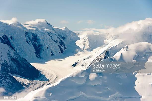 Snowy Muldrow Glacier on sunny day in Denali National Park