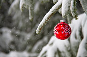 Snowy red Christmas ornament