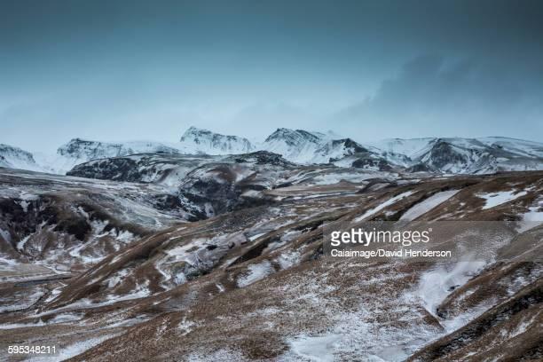 Snowy remote mountain range, Iceland