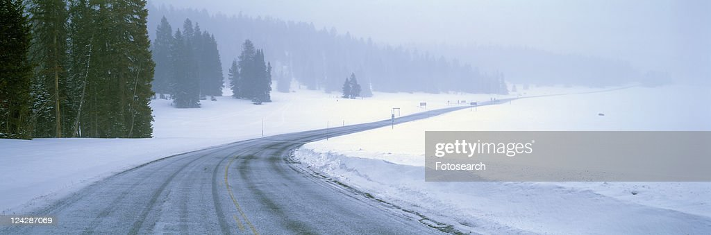 A Snowy Route 14, Near Cedar Breaks National Park, Utah : Stock Photo