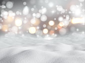 3D render of snow against a bokeh lights background