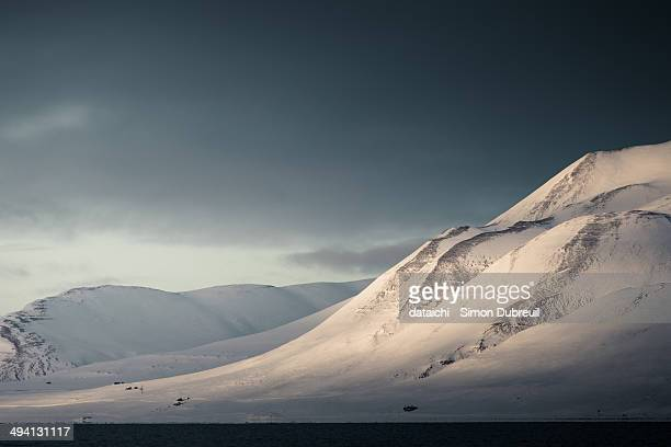 Snowy slopes of Aventfjorden