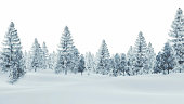 Daytime winter scenery with snow-covered spruce forest on a white background. Decorative 3D illustration was done from my own 3D rendering file.