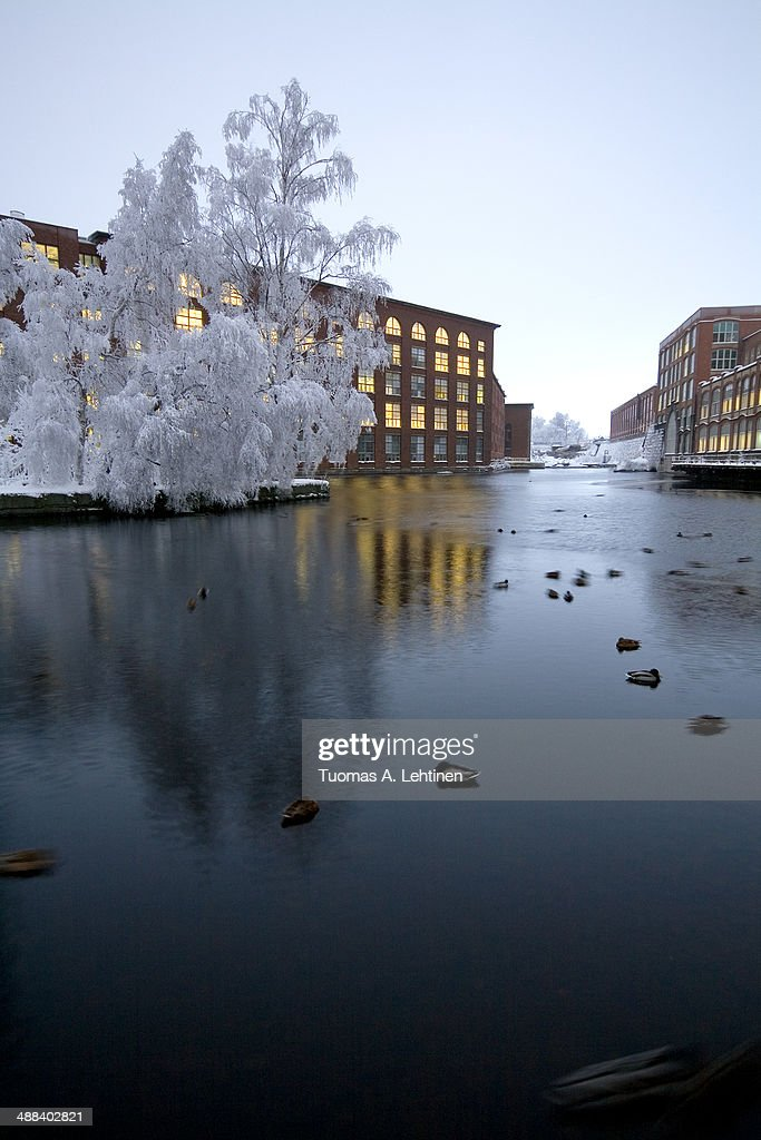 Snowy trees, factory buildings and river at winter