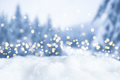 snowy winter christmas bokeh background with circular lights and trees