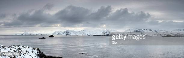 Snowy winter landscape in the Lofoten in Norway