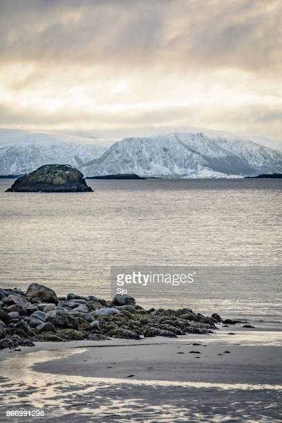 Besneeuwde winterlandschap in de Lofoten in Noorwegen