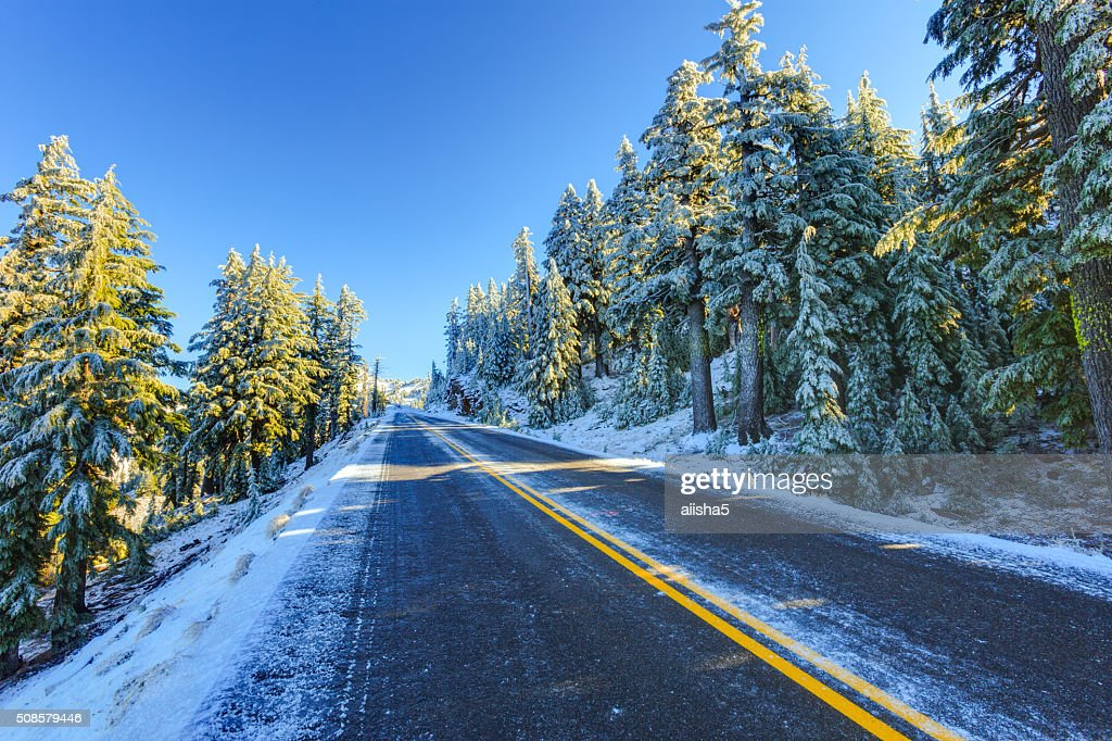 Snowy winter road : Stock Photo