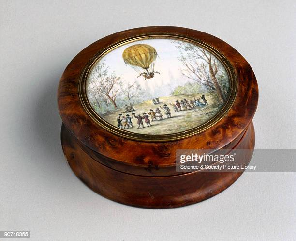 A snuff box from the PennGaskell collection of 'ballooniana' The painted lid shows Dr Jacques Charles and one of the Robert brothers in a balloon...