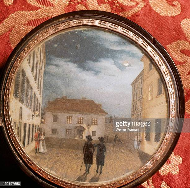 A snuff box which belonged to Beethoven decorated with a miniature painting depicting a street scene Austria