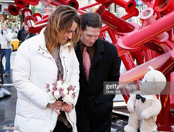 Snuggle Bear shares snuggly insights as 'Ring Bearer' and 'Best Bear' as Pam and Mitch Mitchell of Andover New Jersey renewal their vows in Times...
