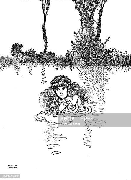 So Elise Took Off Her Clothes and Stepped into the Water' c1930 An illustration from 'The Wild Swans' by Hans Christian Andersen From Hans Andersen's...