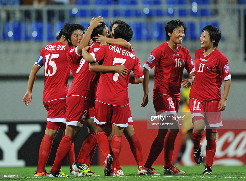 So Hyang Kim of Korea DPR (3rd L) celebrates scoring the second goal with her team mates during the FIFA U-17 Women's World Cup 2012 Semi-Final match between Korea DPR and Germany at 8KM Stadium on October 9, 2012 in Baku, Azerbaijan.