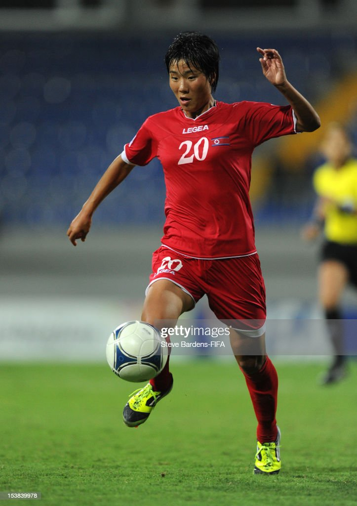 So Hyang Kim of Korea DPR in action during the FIFA U-17 Women's World Cup 2012 Semi-Final match between Korea DPR and Germany at 8KM Stadium on October 9, 2012 in Baku, Azerbaijan.