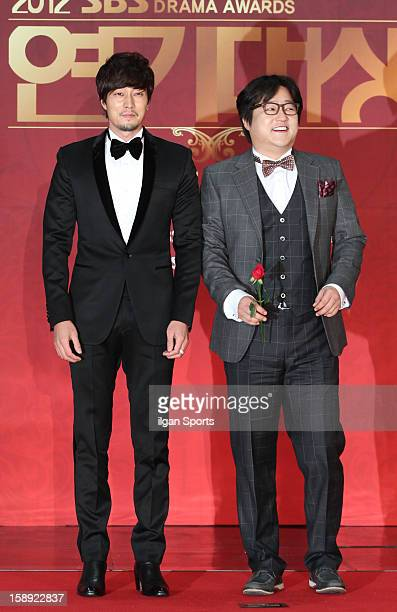 So JiSub and Kwak DoWon attend the 2012 SBS Drama Awards at SBS Prism Tower on December 31 2012 in Seoul South Korea