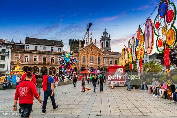 São João festival and tourists in Braga city, Portugal