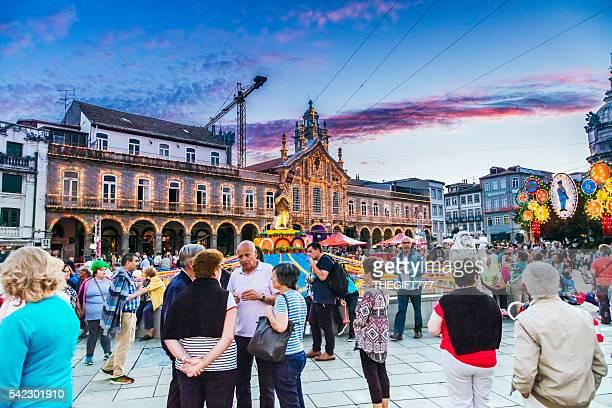 São João festival at the city square in Braga, Portugal