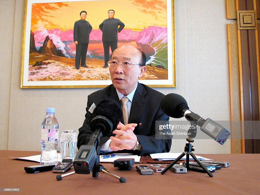So Se Pyong, Permanent Representative of North Korea to the United Nations Office in Geneva speaks during a press conference on March 25, 2014 in Geneva, Switzerland.