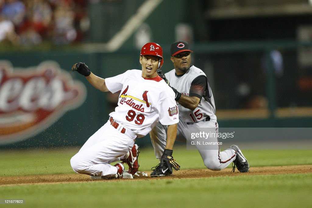 <a gi-track='captionPersonalityLinkClicked' href=/galleries/search?phrase=So+Taguchi&family=editorial&specificpeople=183399 ng-click='$event.stopPropagation()'>So Taguchi</a> of the St. Louis Cardinals looks back to the umpire for the call after he slid safely into 2nd base in action against the Cincinnati Reds at Busch Stadium in St. Louis, Missouri on April 14, 2006. Cincinnati won 1-0.