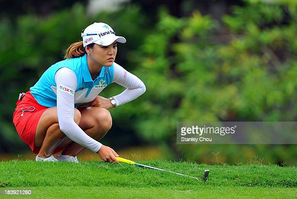 So Yeon Rya of South Korea lines for a putt on the 7th hole during day one of the Sime Darby LPGA Malaysia at Kuala Lumpur Golf Country Club on...