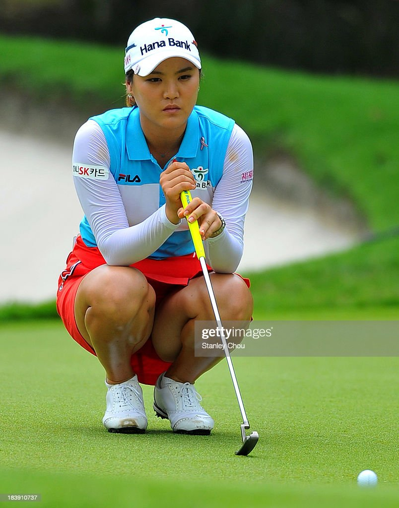 So Yeon Rya of South Korea lines up a putt on the 9th hole during day one of the Sime Darby LPGA Malaysia at Kuala Lumpur Golf Country Club on...