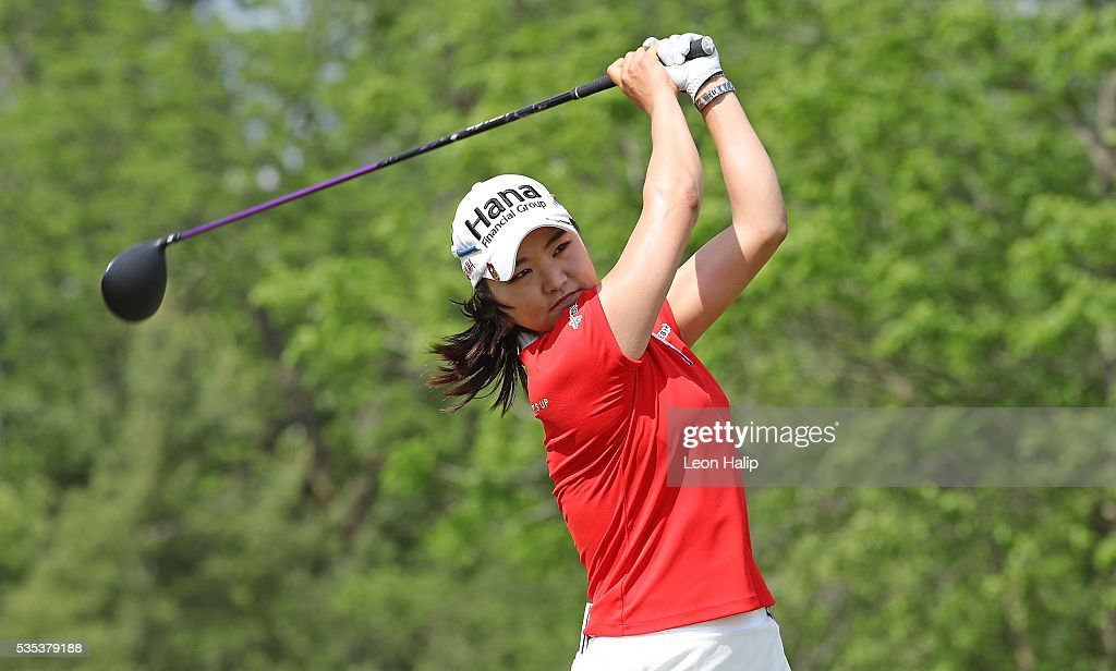 So Yeon Ryu from South Korea tees off on the eleventh hole during the final round of the LPGA Volvik Championship on May 29, 2016 at Travis Pointe Country Club in Ann Arbor, Michigan.