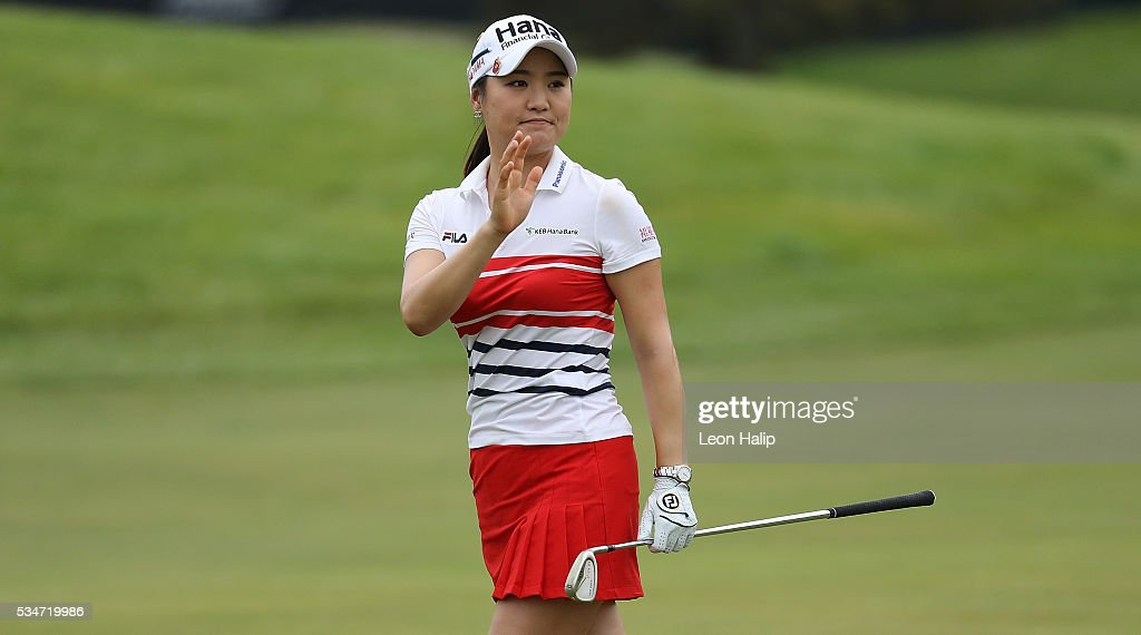 So Yeon Ryu from South Korea waves to the fans during the second round of the LPGA Volvik Championship on May 27, 2016 at Travis Pointe Country Club Ann Arbor, Michigan.