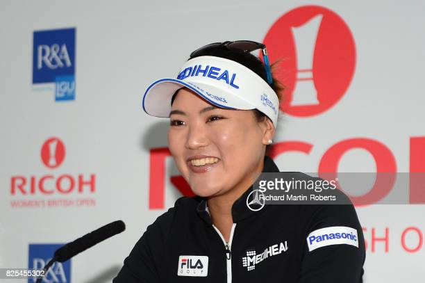 So Yeon Ryu of Korea answers questions from the media at a press conference during a practice round prior to the Ricoh Women's British Open at...
