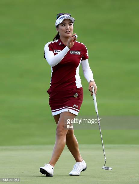 So Yeon Ryu of Korea celebrates on the 18th green during the US Women's Open round three on July 15 2017 at Trump National Golf Club in Bedminster...