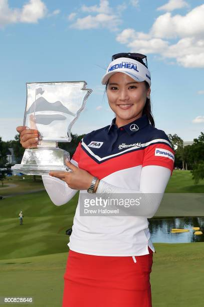 So Yeon Ryu of Korea displays the trophy after winning the Walmart NW Arkansas Championship Presented by PG on June 25 2017 in Rogers Arkansas
