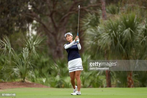 So Yeon Ryu of Korea plays a shot on the second hole during round one of the CME Group Tour Championship at the Tiburon Golf Club on November 16 2017...
