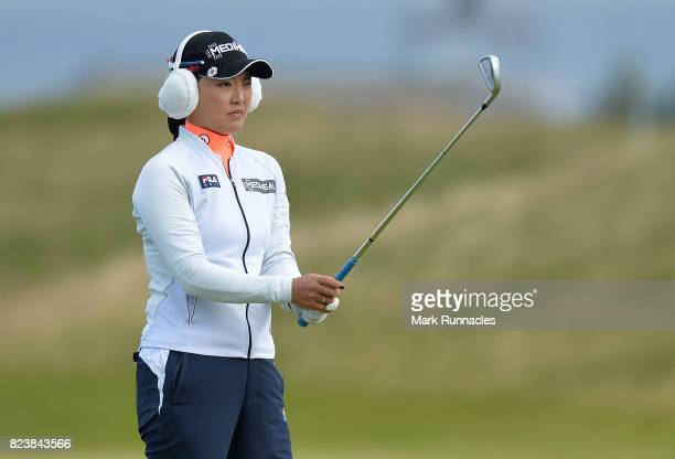 So Yeon Ryu of Korea plays her second shot to the 17th during the second day of the Aberdeen Asset Management Ladies Scottish Open at Dundonald Links...