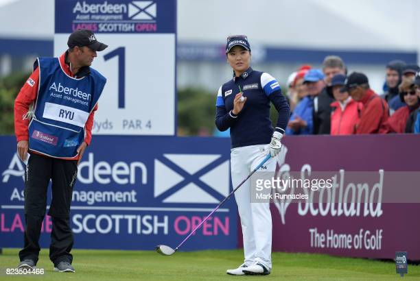 So Yeon Ryu of Korea prepares to play her tee shot to the 1st hole during the first day of the Aberdeen Asset Management Ladies Scottish Open at...