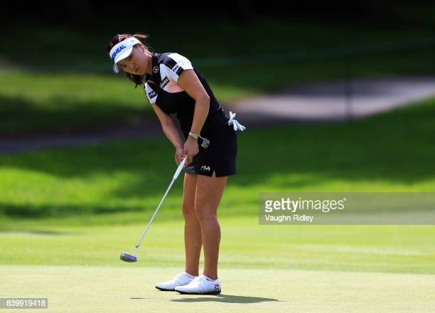 So Yeon Ryu of Korea putts on the 3rd green during the final round of the Canadian Pacific Women's Open at the Ottawa Hunt Golf Club on August 27...