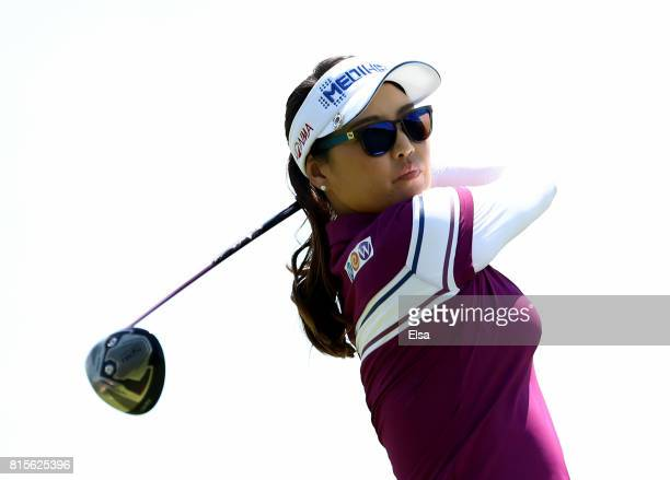 So Yeon Ryu of Korea takes her shot off the second tee during the final round of the US Women's Open on July 16 2017 at Trump National Golf Club in...