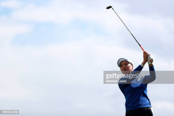 So Yeon Ryu of Korea tees off during a proam round prior to the Ricoh Women's British Open at Kingsbarns Golf Links on August 1 2017 in Kingsbarns...