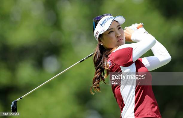 So Yeon Ryu of Korea watches her shot off the fouth tee during the US Women's Open round three on July 15 2017 at Trump National Golf Club in...
