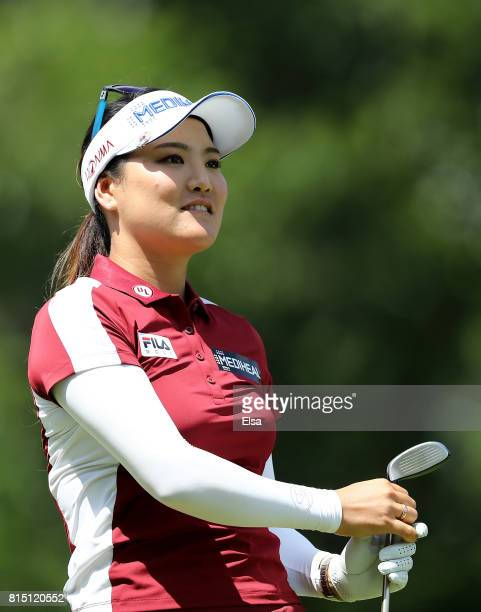 So Yeon Ryu of Korea watches her shot off the third tee during the US Women's Open round three on July 15 2017 at Trump National Golf Club in...