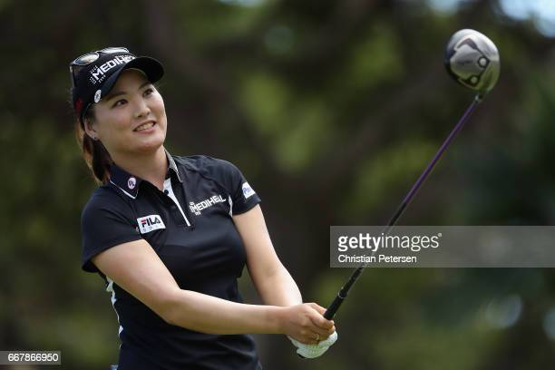 So Yeon Ryu of Republic of Korea plays a tee shot on the ninth hole during the first round of the LPGA LOTTE Championship Presented By Hershey at Ko...