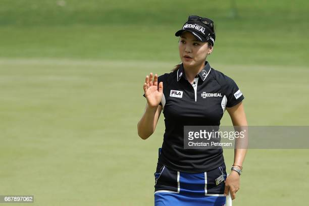 So Yeon Ryu of Republic of Korea reacts to a putt on the seventh green during the first round of the LPGA LOTTE Championship Presented By Hershey at...