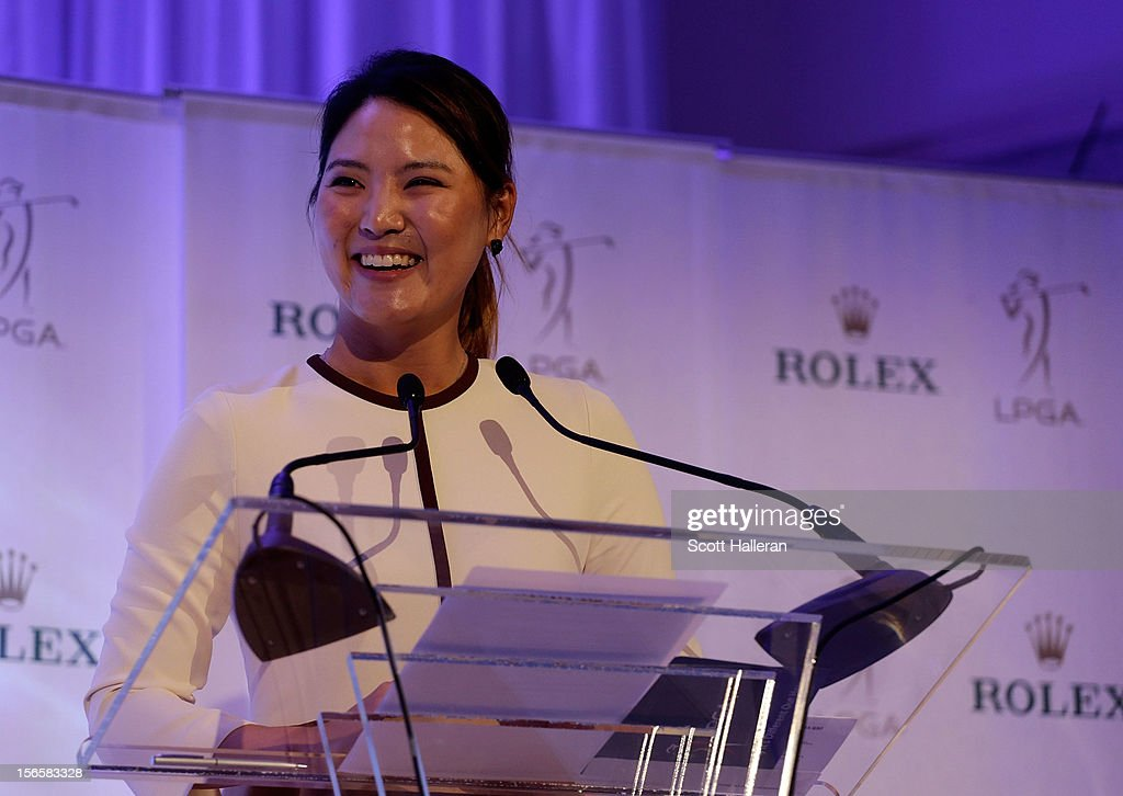 So Yeon Ryu of South Korea accepts her 2012 Louise Suggs Rookie of the Year trophy at the LPGA Rolex Awards Celebration at the Ritz-Carlton Resort on November 16, 2012 in Naples, Florida.