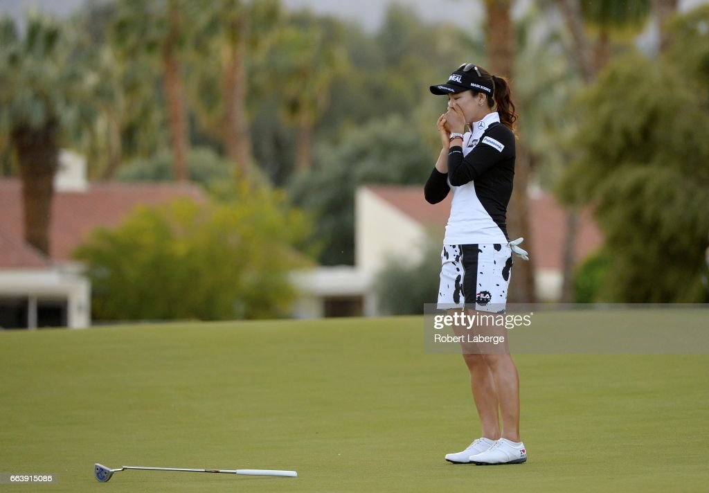 So Yeon Ryu of South Korea celebrates after winning the ANA Inspiration on the Dinah Shore Tournament Course at Mission Hills Country Club on April 2, 2017 in Rancho Mirage, California.