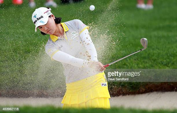 So Yeon Ryu of South Korea chips out of the sand trap on the 4th hole during the second round of the LPGA Canadian Pacific Women's Open at the London...