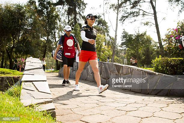 So Yeon Ryu of South Korea crosses a bridge at the fourth hole during the fourth round of the 2014 Lorena Ochoa Invitational presented by Banamex at...