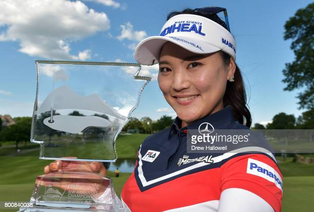 So Yeon Ryu of South Korea displays the trophy after winning the Walmart NW Arkansas Championship Presented by PG at Pinnacle Country Club on June 25...