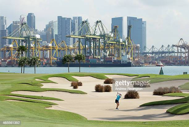 So Yeon Ryu of South Korea hits a bunker shot on the fifth hole during the final round of the HSBC Women's Champions at Sentosa Golf Club on March 8...